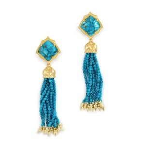 Misha Gold Tassel Earrings Bronze Turquoise